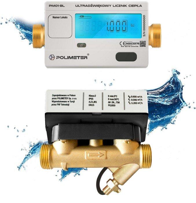Ultradźwiękowy licznik ciepła POLIMETER PM01-BL z podświetlanym wyświetlaczem