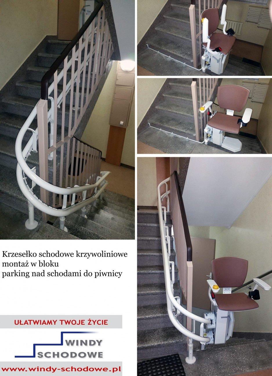 Krzesełko schodowe krzywoliniowe.