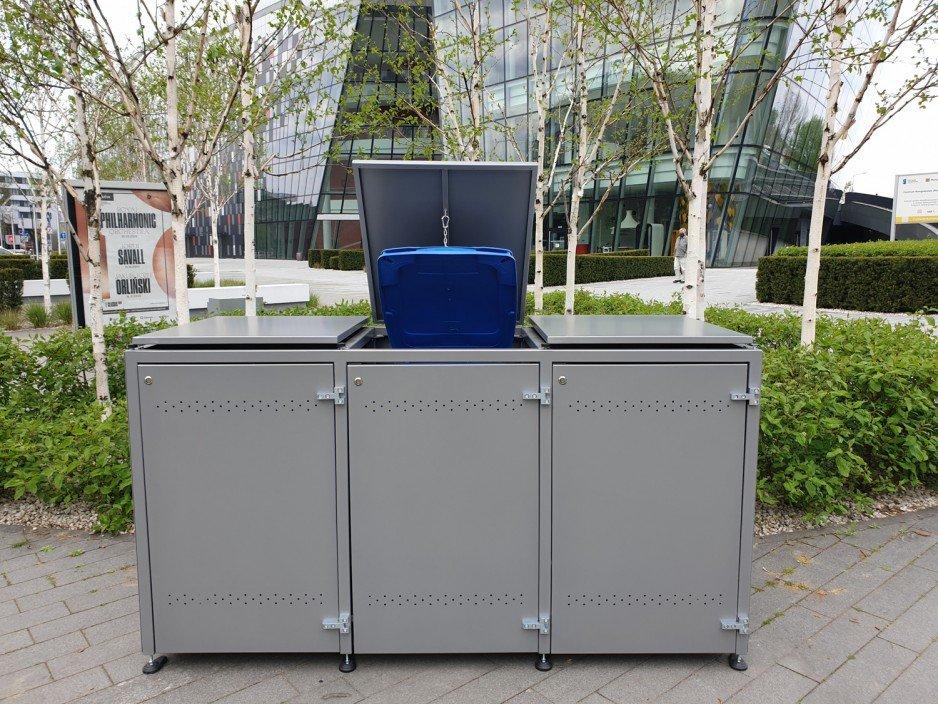 Obudowa pojemnika na śmieci z klapą – zobacz rozwiązanie dla osiedli QUUB