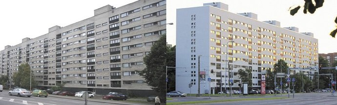 Liczący 162 mieszkania budynek w Tallinie, wyremontowany w 2013 roku w pierwszym okresie dotacji (35% – najwyższy poziom dofinansowania). Pozostałe środki na remont uzyskano z kredytu. Zastosowano system wentylacji wyciągowej z odzyskiem ciepła w pompi.