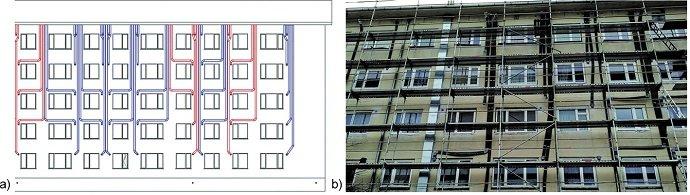 Przewody wentylacyjne na elewacji: a) idea (niebieski – wywiew, czerwony – nawiew), b) rzeczywisty budynek podczas montażu [5]